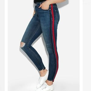 Express High Waisted Side Stripe Ankle Jeggings